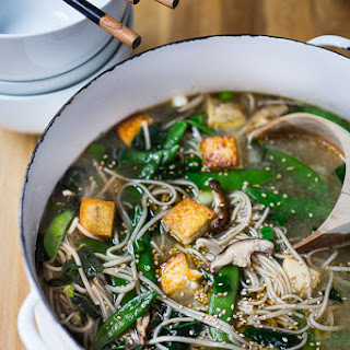Ginger Sesame Soba Noodle Soup with Shiitakes & Greens Recipe