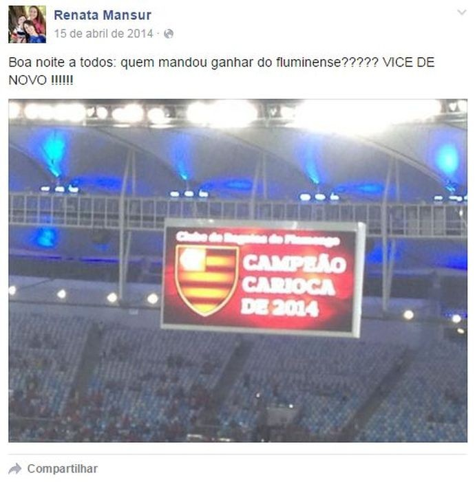 Facebook de Renata Mansur, presidente da comissão que julgou Guerrero
