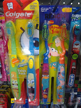 Photo: All of the kids toothbrushes were brightly colored and plastered with fun characters. I especially appreciated that I could buy the value packs for a cheaper price since there was more than one child to buy for! I had 6 to buy for!