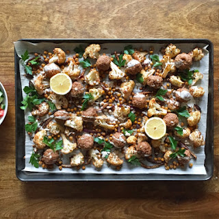 Middle Eastern Turkey Meatball Sheet Pan Dinner.