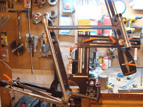 Photo: Fixture's setup and the top tube is mitered.