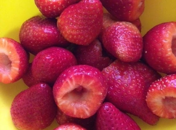 Next, wash & hull the strawberries.  Now, you have to make a decision....