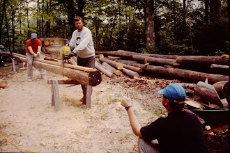 Photo: Dan, John & Karl cutting the ridge pole. (1995)