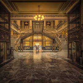 Palacio de Correos de Mexico by Ole Steffensen - Buildings & Architecture Other Interior ( palacio de correos de mexico, post office, stairs, guard, mexico city, entrance, interior )