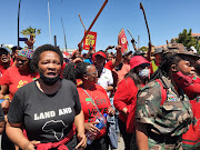 Some of the estimated 1,000 EFF supporters who joined a protest at Brackenfell High School, Cape Town, on November 20 2020.