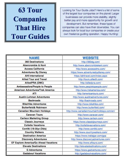 Tour Guide Jobs - 63 Companies that hire tour guides - Free PDF