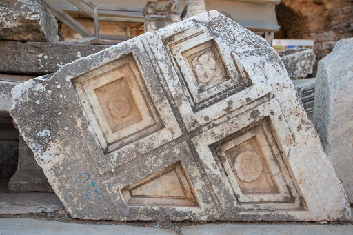 Ephesus-doorway-remnant.jpg - Fanciful decorations on stone ruins at Ephesus, Turkey.