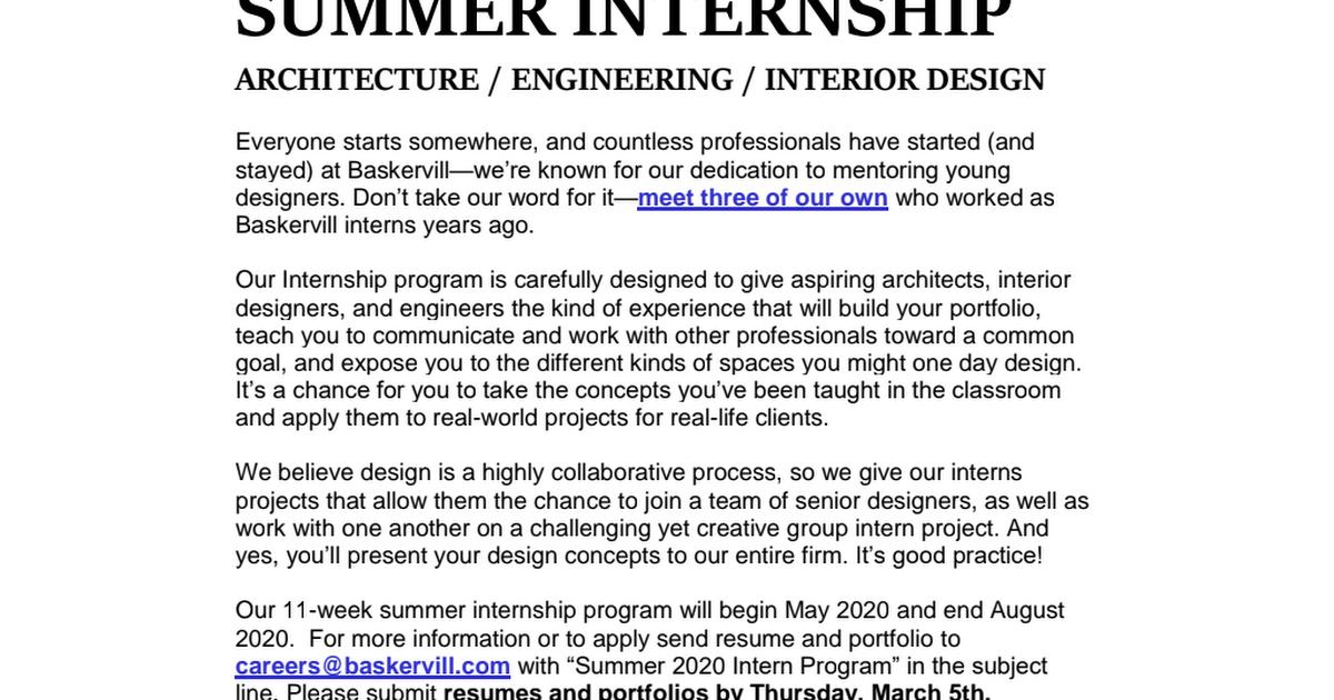 2020 Summer Internship Description Pdf Google Drive