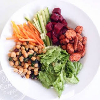 Nourishing bowl: Herbed-roasted carrots, spinach sautéed chickpeas and pickled beets salad (vegan, gluten-free, paleo).
