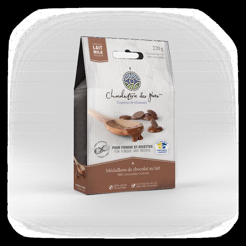Chocolat Médaillons de chocolat au lait pour fondue et recettes