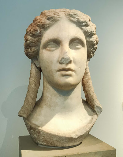 Head of Artemis or Apollo, dating to 300-330 B.C. at the Altes Museum in Berlin.