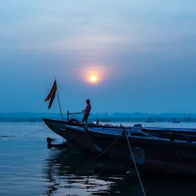 morning varanasi by Suman Mukherjee - Landscapes Sunsets & Sunrises ( blue, india, varanasi, sunrise, morning )