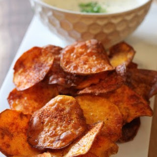 BBQ Sweet Potato Chips with Gorgonzola Herb Dipping Sauce.