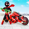 Stickman Moto Bike Hero: Crime City Superhero Game icon