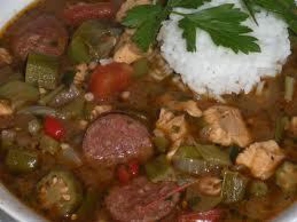 Okra can be added to Chicken and Sausage Gumbo