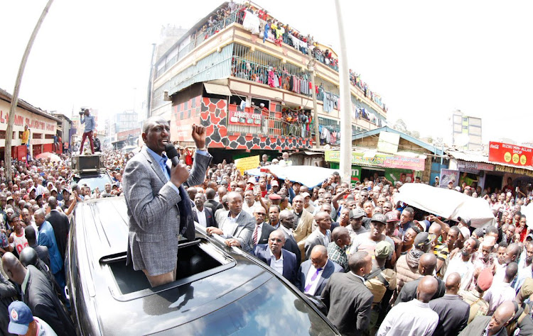 Deputy President William Ruto when he toured Nairobi's Mathare area.