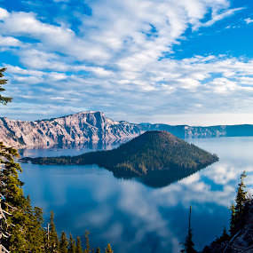 Wizard Island by Dan Allard - Landscapes Waterscapes ( crater, mountains, volcano, crater lake, or, pwcreflections, wizard island, lake,  )