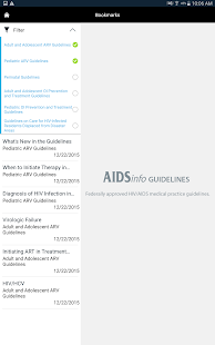 AIDSinfo HIV/AIDS Guidelines- screenshot thumbnail