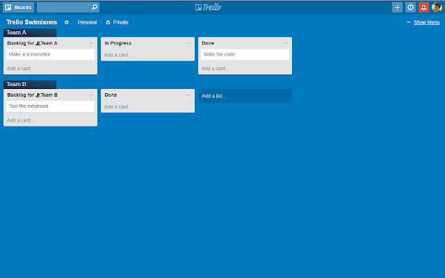 Swimlanes For Trello
