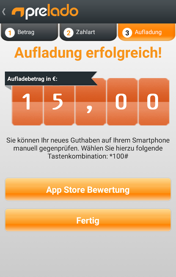 prelado - Handy Aufladung – Screenshot