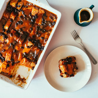 Eggnog Bread Pudding with Cinnamon Caramel Sauce