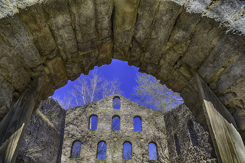 Bieber Grist Mill  by Tammy Scott - Buildings & Architecture Decaying & Abandoned ( mill, blue sky, stone, historical, abandoned )