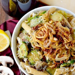 Mushroom and Brussels Sprouts Penne with Crispy Fried Shallots.