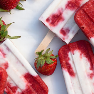 Roasted Strawberries and Cream Popsicles.