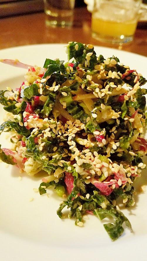 Little Bird Bistro Portland Dining Month 2017 Menu starter of Shredded Kale Salad with toasted sesame seeds, pecan vinaigrette, buttermilk blue