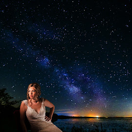 Bride and Milky Way by Debra Melton - Wedding Bride ( night, bride, people, portrait, milky way )