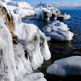 Icy Beauty on Superior by Sandra Updyke - Landscapes Waterscapes ( lichens, sea smoke, ice, north shore, ice drops, lake superior )