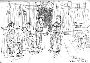 Photo: 等2011.02.04鋼筆 大年初二晚上不打便當,大伙兒到員工餐廳等著合菜上桌…