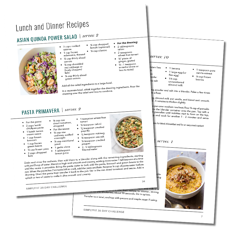 Quick and easy recipes packed with nutrition for the SimplyFit 28-Day Wellness Program