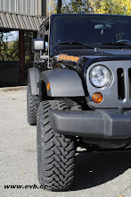 """Photo: Stock JK wheels 35"""" Toyo MT and Spider Tracs wheel spacers"""