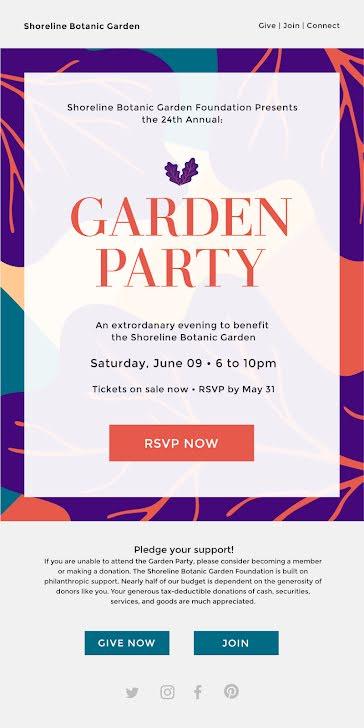 Shoreline Garden Party - Party Invitation template