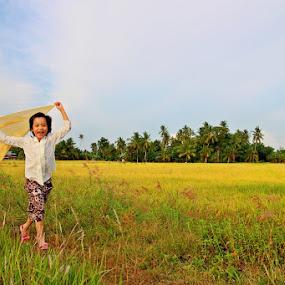 Run Beside The Golden Paddy Field by Alex Teng - Babies & Children Child Portraits ( field, paddy, children, golden )