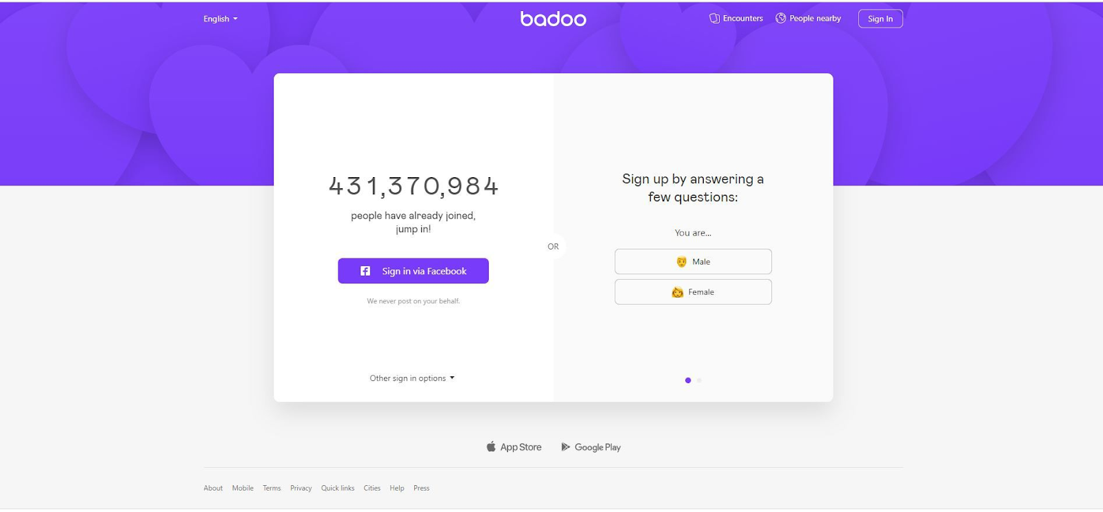 Badoo registration and login process