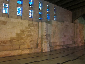 Photo: Modern chuch blended with remains of 18th century wall