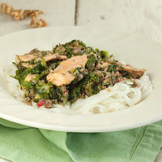 Salmon With Escarole And Rice Noodles.