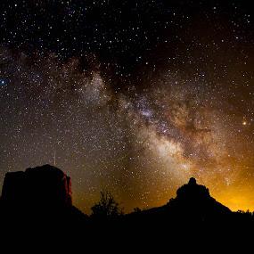 Milky Way, Sedona, AZ by Glenn Miller - Landscapes Starscapes ( silhouette, stars, arizona, bell rock, sedona, milky way )