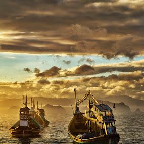 Misty Morning by Sefanya Dirgagunarsa - Transportation Boats ( CARS, TRUCKS, TRANSPORTATION, HOT RODS )