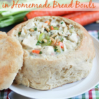 Creamy Chicken & Wild Rice Soup in Homemade Bread Bowls
