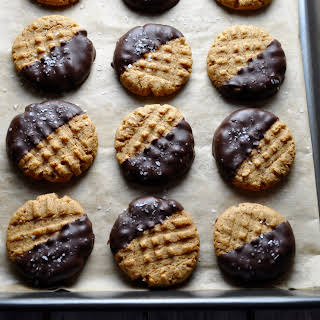 Salted Dark Chocolate Dipped Peanut Butter Cookies.