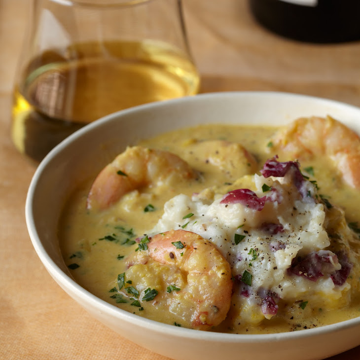 Corn and Shrimp Chowder with Mashed Potatoes Recipe