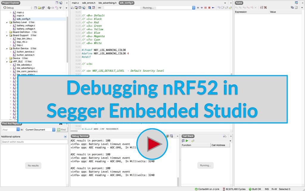 Debugging nRF52 Applications in Segger Embedded Studio Image