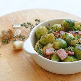 Brussels Sprouts With Roasted Garlic And Bacon