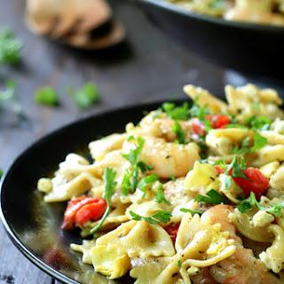 Easy Shrimp Pesto Pasta.