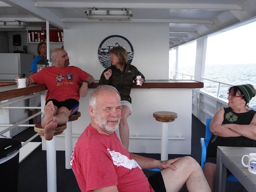 Relaxing between dives on The Kona Aggressor II