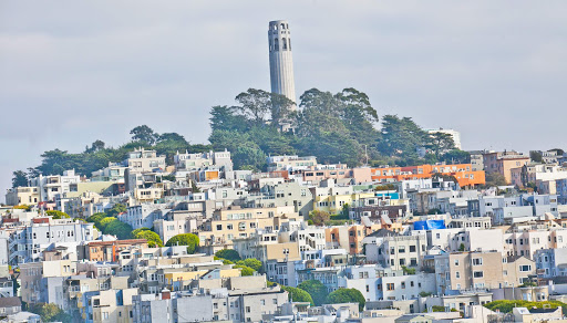 Coit-Tower-SF-neighborhood - View of Coit Tower and surrounding neighborhood in San Francisco