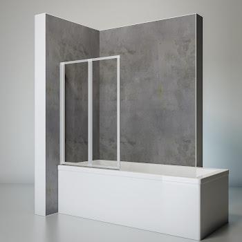 2 volets pare baignoire a coller 87 x 120 cm verre transparent profile alu argente